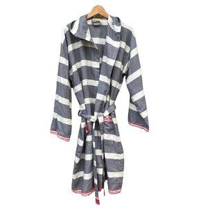 Pokoloko Unisex Turkish Cotton Stripe Hooded Bathrobe Robe Loungewear Artisan